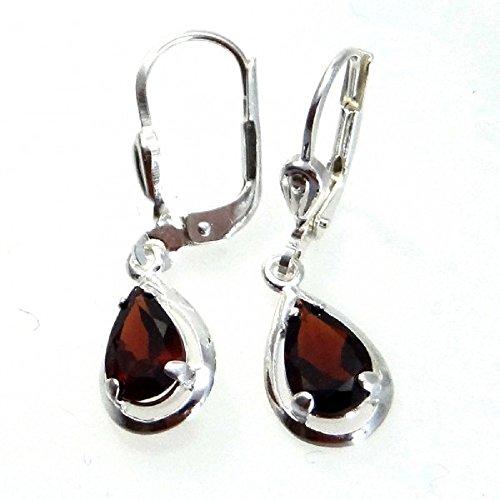 ASS 925 Silber Ohrringe Ohrhänger Brisur Tropfenform mit Granat echt