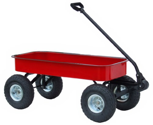 Best Review Of Morgan Cycle Classic Steel Red Wagon with Rubber Air Tires