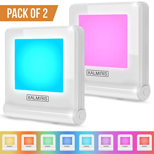 LED Night Light with Dusk to Dawn Sensor - Pack of 2 Nightlights Plug in - Color Changing Night Lights for Kids and Adults by Kalmiris