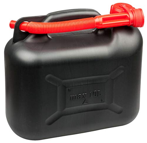Walser Benzinkanister 10 Liter, Kraftstoffkanister UN-geprüft mit Sicherheitsverschluss, Kunststoff Kanister, Reservekanister schwarz 16373