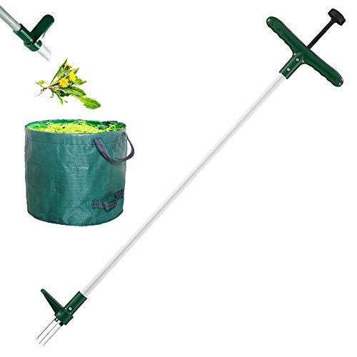 Walensee Stand Up Weeder and Weed Remover Tool Stand up Manual Weeder Hand Tool with 3 Claws Stainless Steel and High Strength Foot Pedal Weed Puller Combo Pack  Stand Up WeederampGarden Waste Bag