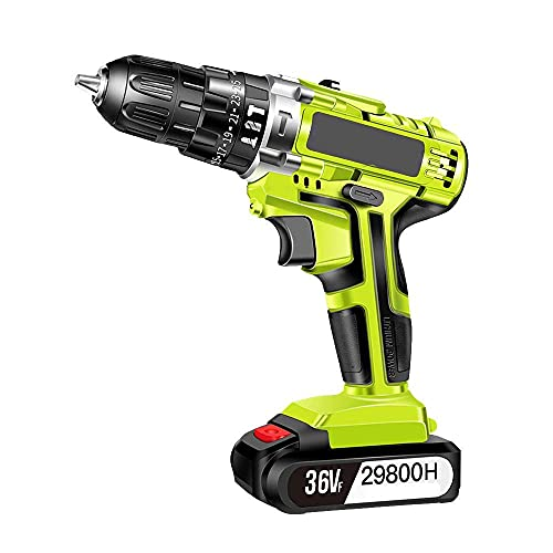 Diossad Craftsman Drill Cordless plasterboard Screwdriver, 21v Batteries Electric Drill, 25 + 1 Torque Settings & 2 speeds Cordless Screwdriver Screwdriver, 2X 2.0 Ah Lithium Ion Battery
