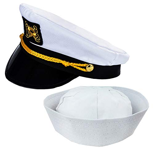 Funny Party Hats Adult Captain's Yacht Hat and White Cotton Sailor Hat