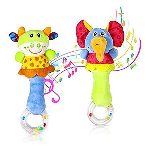 aovowog Sonajero de Juguete Muñeca de Peluche Sonajero de Juguete Felpa bebé Instrumento Sentido Bebé Infantil 3 6 9 12 Meses (2 Piezas)