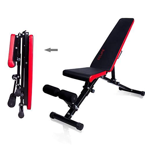 CCLIFE Banco de Musculación Multiposición Banco de Fitness o de Abdominales Ajustable,Plegable y Resistente a una Carga máxima de 600 kg, Color:Negro-019