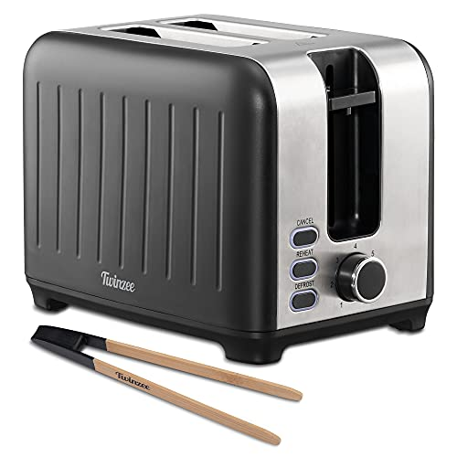 Twinzee - Toaster mit Breitem Schlitz 3 in 1 - Schwarz Matt Edelstahl, Retro-Toaster - Gratis Bambus-Zange - 7 Bräunungsstufen - Brötchenaufsatz und Krümelschublade