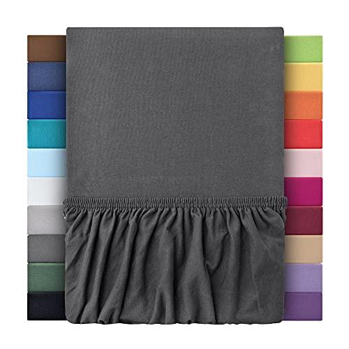 leevitex Sábana bajera para cama de agua y cama con somier, 100% algodón Mako-Jersey, Öko-Tex   170 g/m²   40 cm de puente   140 x 200 – 160 x 220 cm   antracita/gris