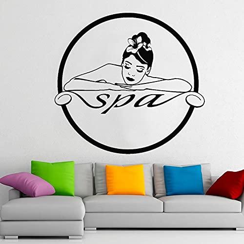 HGFDHG Chica SPA calcomanías de Pared Centro de masajes Logo decoración de Interiores Puertas Ventanas Pegatinas de Vinilo Cuerpo Relajante Mujer Arte Papel Tapiz