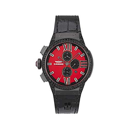 HÆMMER Roxy E-007 - Reloj de pulsera analógico de cuarzo para mujer con cronógrafo de cuarzo en negro/rojo con cristal de zafiro resistente a los arañazos (45 mm de diámetro)