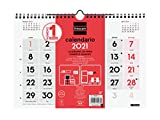 Finocam - Calendario Neutro de pared 2021 Números grandes Español, M - 300x210 mm