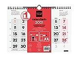 Finocam - Calendario Neutro de pared 2021 Números grandes Español, M - 300x210 mm