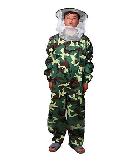 Univegrow Professionele imker Jumpsuit pak bijenteeltpak met zelfdragende sluier voor bijenhouders XL Camo Groen