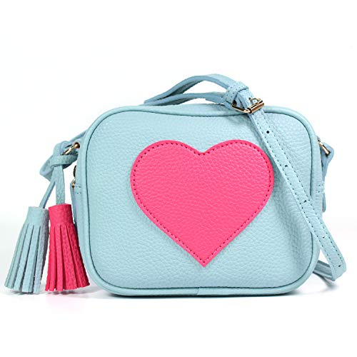 Lightweight Small Crossbody Purse Bag Leather with Tassel for Girls Women with Adjustable Straps Design in Italy (Sky Blue)