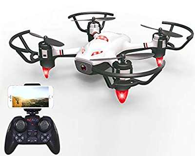 Haktoys HAK913 FPV WiFi HD Live Streaming Camera RC Quadcopter Mini Drone w/Lights | Gesture Recognition, Optical Flow Positioning, Trajectory Plan, Take-Off & Return Key, 360°Flips, Headless Mode