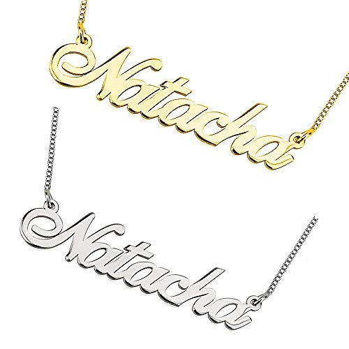 Amo Distro Personalized Name Necklace Customized with Name 18K Gold Plated Silver Necklaces (16, 18ct Gold Plated Silver)