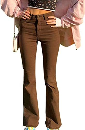 Women s Stretch Flared Jeans Vintage High Waisted Trousers Solid Color Pants with Pockets Brown product image