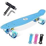 Colmanda Skate Completo Monopatín, 22' 56cm Skateboard Monopatin con Ruedas LED Light Up Rodamientos de Bolas ABEC-7, Skateboard Completo para Principiantes, Niñas, Niños, Adolescentes