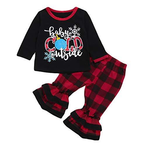 puseky baby kinderen kleine kinderen meisjes kerstoutfits brieven bedrukken shirt + ruches plaid broek set