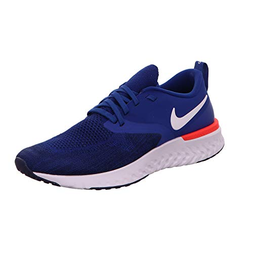 Nike Herren Odyssey React 2 Flyknit Laufschuhe, Mehrfarbig (Indigo Force/White-Blue Void-Red Orbit 400), 43 EU (8.5 UK)