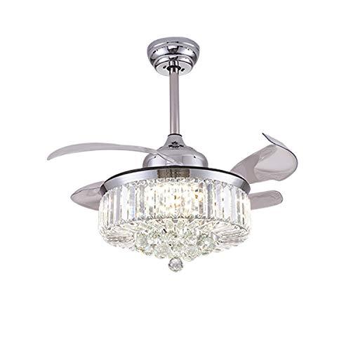 KWY Ventilador de Techo de Cristal retráctil-3 Cambio de luz LED Araña de Ventilador silencioso con Control Remoto, Ventilador de Techo Invisible Moderno de 42 Pulgadas 36W con luz