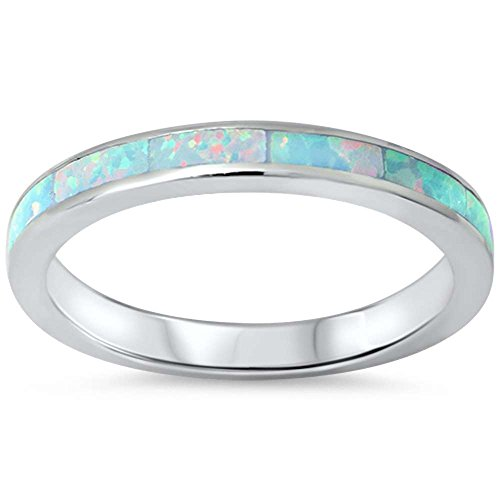 .925 Sterling Silver Womens Created Opal Eternity Wedding Stackable Band Ring Sizes 4-12