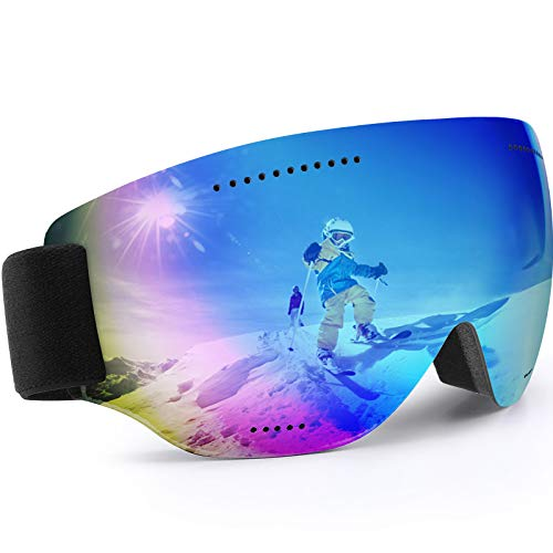 Teamkio Skibrille Ski Goggles Snowboardbrille für Damen und Herren, Anti-Fog UV-Schutz Blendschutz Skibrillen Sphärisch Goggle Brille für Unisex Männer Kinder Erwachsene Jugendliche (Blau)