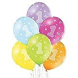Party Factory Juego de 25 globos de colores con el número 1, diámetro de 27 cm, para niños y bebés, globos de helio ecológicos de látex