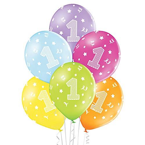 Party Factory 25er Set bunte Luftballons, Zahl 1, Ø 27cm, Babys & Kinder, Kindergeburtstag, umweltfreundlicher Heliumballon aus Latex