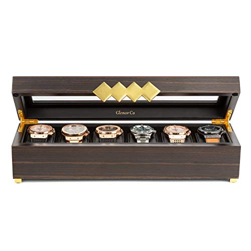 Glenor Co Wooden Watch Box for Men - 6 Slot - Modern Luxury Case with Gold Buckle & Legs - Large Glass Display Storage - Mens Organizer - Black Leather Pillow Holder - Brown Walnut Wood