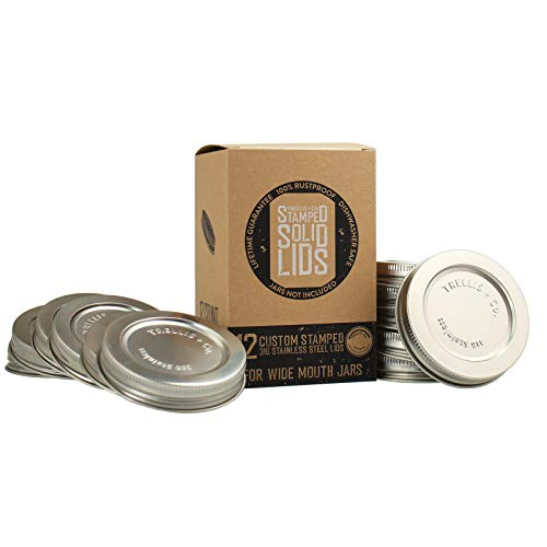 Trellis + Co. 316 Stainless Steel Wide Mouth Mason Jar Lids - 12 Pack - For Storage, Dry Goods, Pickling, Gifts - Durable & Rustproof - Mason Jar Tops