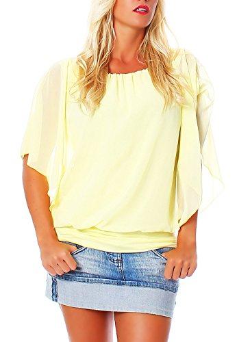 Damen Bluse im Fledermaus Look   Tunika mit Rundhals und breitem Bund   Blusenshirt Kurzarm   Elegant - Shirt 6296 (gelb)