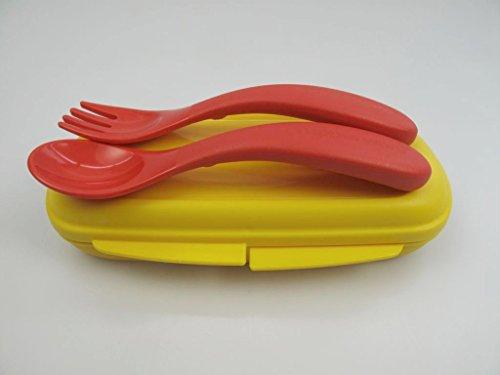 TUPPERWARE Kinder Besteck Box gelb rot Kinderbesteck mit Etui Baby Besteck