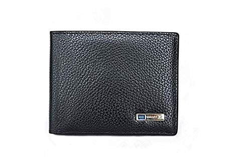 feifuns Anti-Diebstahl, Echtleder Smart Wallet GPS-Brieftasche, Herren, aufladbar, Kartenfach (schwarz)