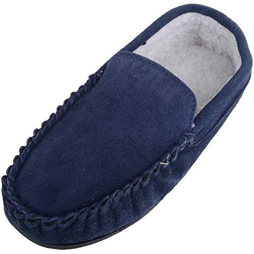 Pantofole stile mocassino da uomo in pile foderato con suola in gomma antiscivolo, blu (Navy), 42