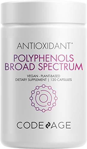 Codeage Polyphenols Supplement - Organic Green Tea Pills, Quercetin, Pomegranate, Turmeric - Resveratrol & Plant Polyphenols Foods - Polyphenol Nutrients - Vegan, Non-GMO - 120 Capsules