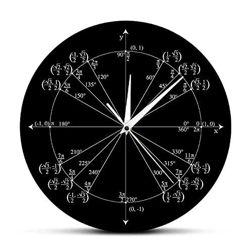 LTMJWTX Unidad Círculo Matemáticas Maestro Regalo Reloj de Pared Trigonometría Pre Cálculo Decoración para el Aula Geometría Radian Ángulos etiquetados Reloj de valores-30X30cm