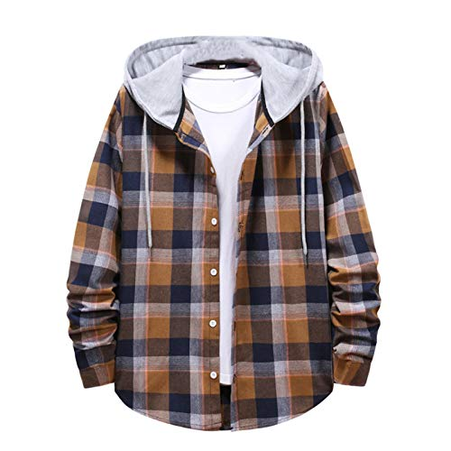 DADGS Frühling Herbst Mode Hip Hop Streetwear Casual Plaid Shirt Herren Langarm Lose Kapuzenpullover Pärchenhemd Gr. L, Ka Fei Se