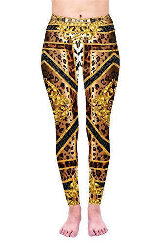 Kukubird Printed Leopard Patterns Women's Yoga Leggings Gym Fitness Running Tights Size 6-10 Stretchable
