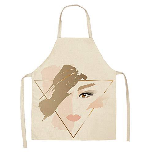 YIYA mouwloos, koken/poetsen/keuken/eetkamer roze geometrische schort van katoen en linnen
