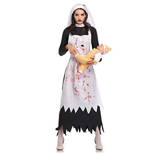 Disfraz de Halloween para disfraz de Halloween para fiesta de festival, carnaval, disfraces de Navidad, vestido de novia fantasma, vestido de espantosa manchada de sangre