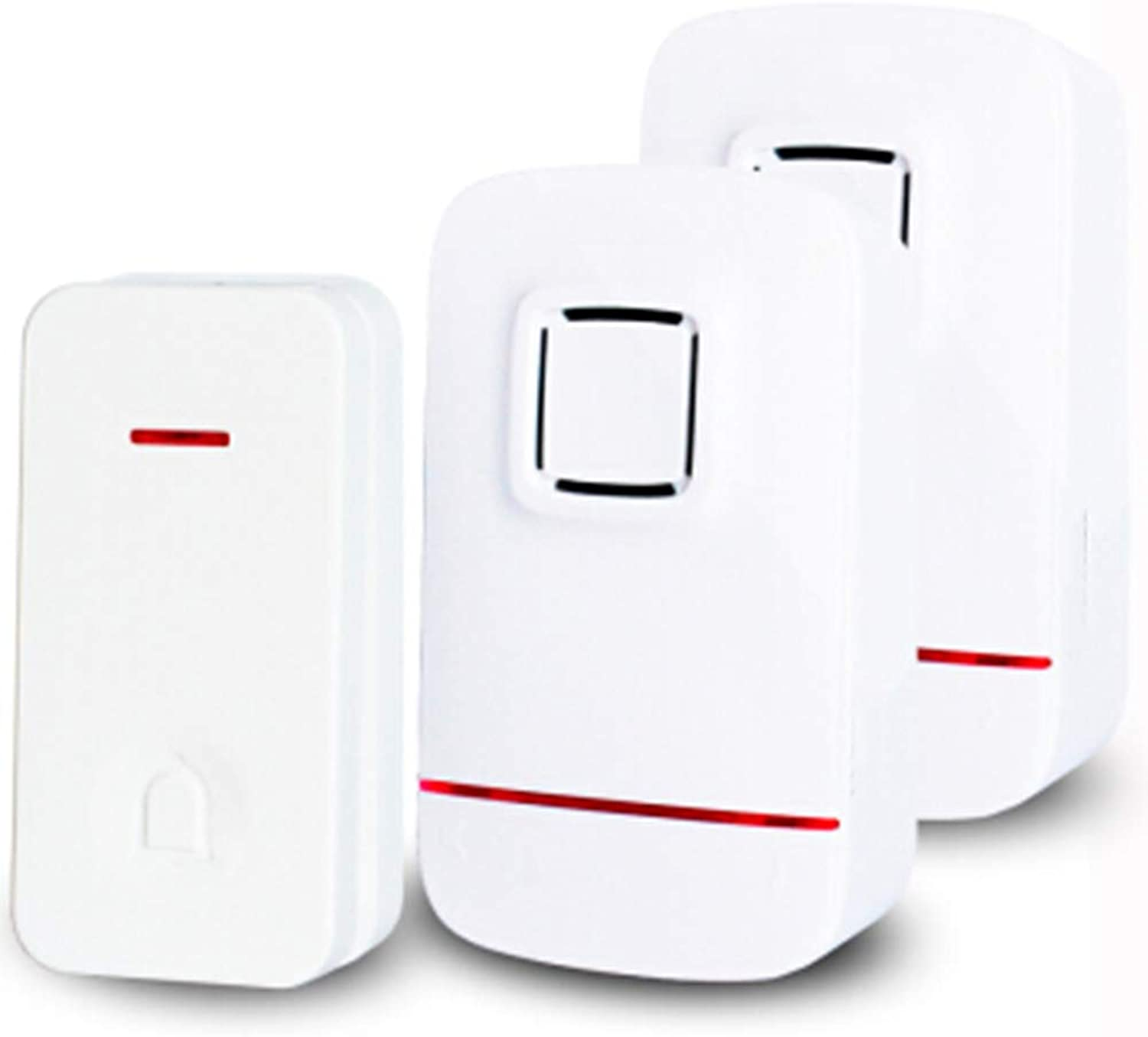 Home Wireless Doorbell, Plugin Receiver + Transmitter (SelfPowered), ABS Material, Home Company,White1transmitter+2Receiver