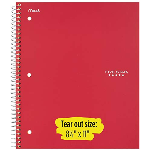 """Five Star Spiral College Ruled Notebook, 1 Subject, Wired Note Book with Pockets, 100 Sheets, Home School Supplies for College Students or K-12, 11"""" x 8-1/2"""", Black, White, Red, 3 Pack (73055) Photo #4"""