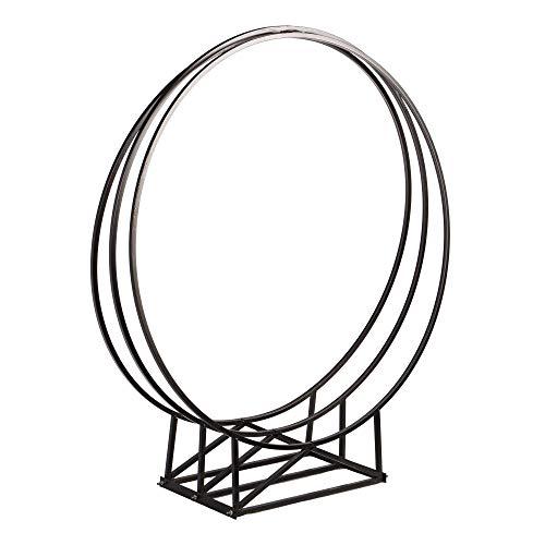 RM Design Kaminholzregal für außen und innen 80 cm breiter Kaminholzständer Feuerholz rund Metall schwarz