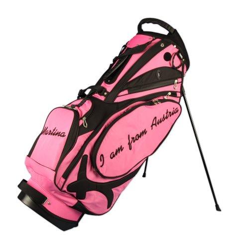 Sacca da golf tracolla MUIRFIELD personalizzata 'MONOGRAMMA A LATO' 3 aree personalizzate in rosa