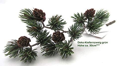 GILDE Künstlicher Mix - Tannenzweig mit kleinen Zapfen grün-braun, Höhe ca. 30 cm