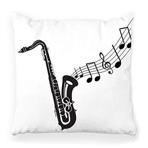 LXJ-CQ Funda de Almohada de Tiro 18x18 Banda de música de saxofón Negro Aislado Blanco Latón Concierto Jazz Stave Botones Acorde Clásico Clef Concert Pillowcase