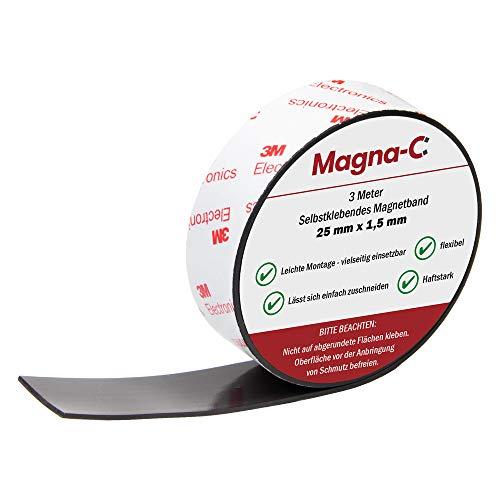 Selbstklebendes starkes Magnetband - Magnetstreifen schneidbar - Breite: 25 mm - Stärke: 1,5 mm - 3 Meter Rolle - von Magna-C