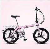 AYHa Las mujeres bicicleta plegable de 20 pulgadas, 7 adultos velocidad plegable bicicletas de cercanías, bicicletas plegables de peso ligero, de alta carbón del marco de acero, rosa tres radios,Rosa