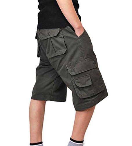 ZKOO Suelto Cortos Pantalones Cargo Hombre Bermuda Cortos con Multi-Bolsillo Verano Outdoor Corto Pantalón Algodón Deporte Shorts Ocio