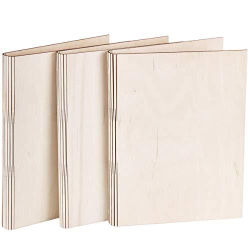 Holzordner 3 Stück Schnellhefter Ringbuch Mappe aus Holz DIN A4 Menükarte